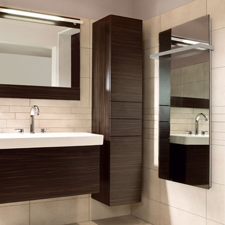 Mirror panel with towel rail
