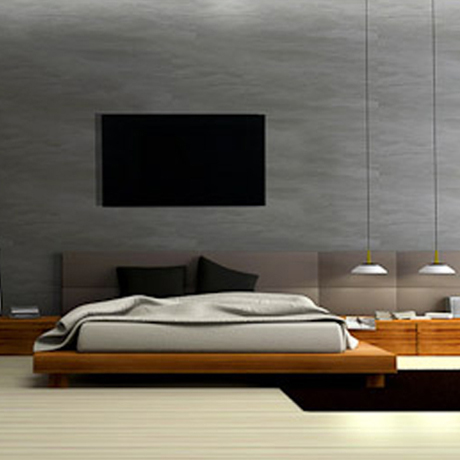 Black glass panel in a modern bedroom